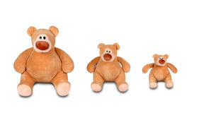 Three sitting teddy bears Royalty Free Stock Photography