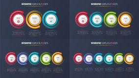 Three-six camina las cartas de proceso infographic con las flechas circulares Imagen de archivo libre de regalías