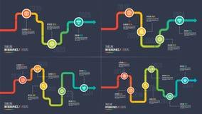 Three-six fa un passo grafici infographic della pietra miliare o di cronologia Fotografie Stock
