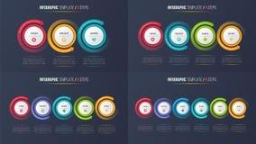 Three-six kliver infographic processdiagram med runda pilar Royaltyfri Bild