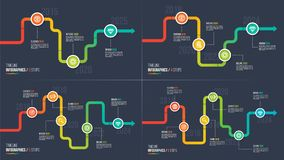 Three-six tritt infographic Diagramme der Zeitachse oder des Meilensteines Stockfotos