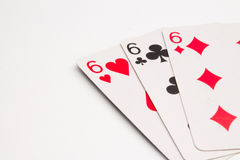 Three sixes Cards Stock Photo