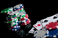 Three sixes and failure in poker Stock Images