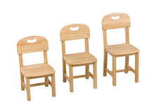 Three size of the  chairs for kids Stock Photography