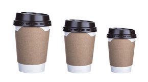 Three size of Paper cup of coffee Isolated Royalty Free Stock Photo