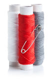 Three skein of thread with pin Royalty Free Stock Image