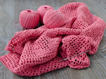 Three skeins of pink yarn Stock Photos
