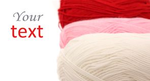 Three skeins of wool Stock Photos