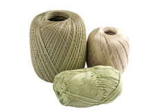 Three skeins of yarn for knitting. Isolated on white background royalty free stock photography