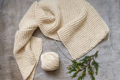 Three skeins of yarn for knitting a scarf Stock Photos