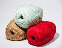 Three skeins of yarn Stock Images