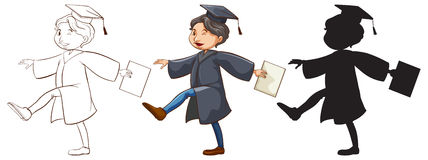 Three sketches of a boy graduating. Illustration of the three sketches of a boy graduating on a white background Royalty Free Stock Photo