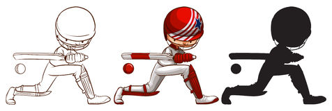 Three sketches of a cricket player in different colors Royalty Free Stock Image