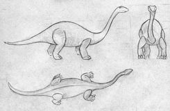 Three sketches of a dinosaur. Hand drawn pencil sketches of a diplodocus - huge dinosaur with long neck. Top, side and front views Royalty Free Stock Image