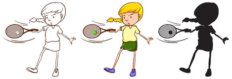 Three sketches of a girl playing tennis Royalty Free Stock Photography