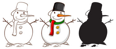 Three sketches of a snowman Royalty Free Stock Photo