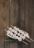 Three skewers with shrimps Stock Photo