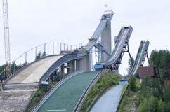 Three ski jumps Stock Photo