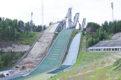 Three ski jumps Stock Image