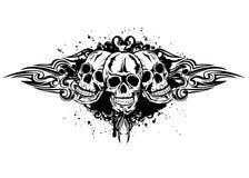 Three skulls. Vector illustration three skulls and patterns Royalty Free Stock Images