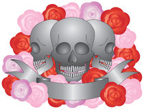 Three Skulls with Banner Stock Photography