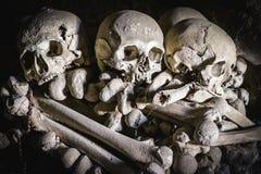 Three skulls in Fontanelle cemetery. Stock Photos