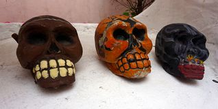 Stone hand made skulls royalty free stock images