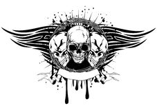 Three skulls tribal. Vector illustration human death skulls with barbwire and tribal wings Stock Photos