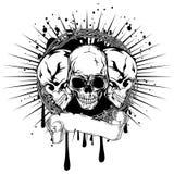 Three skulls. Vector illustration three human death skulls with barbwire Stock Photo