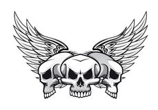 Three skulls with wings. Three danger skulls with wings for tattoo or mascot design Stock Photography
