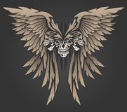 Three Skulls with Wings Vector Illustration. Awesome winged skulls in a butterfly style shape vector illustration Royalty Free Stock Images
