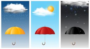 Three sky scenes with different weathers. Illustration Royalty Free Stock Photo
