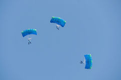 Three skydivers Stock Photo