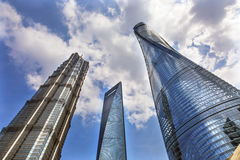 Three Skyscrapers Liujiashui Shanghai China Stock Photography