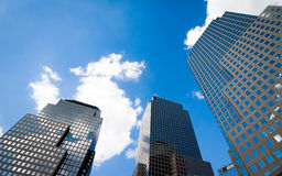 Three Skyscrapers. A low angle view of contemporary skyscrapers in lower Manhattan, New York City Royalty Free Stock Photography