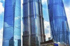Three Skyscrapers Reflections Liujiashui Shanghai China Stock Image