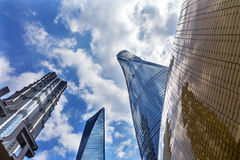 Three Skyscrapers Reflections Liujiashui Shanghai China Royalty Free Stock Photo