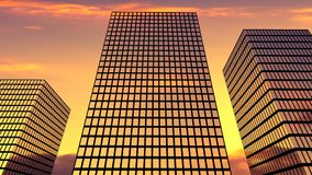 Three skyscrapers on the sunset sky background. Modern biuldings on the evening backdrop. Cityscape without people Stock Photo