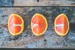 Three Slice of Citrus Fruits Stock Photography