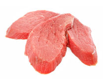 Three slice of red meat isolated on white Stock Images