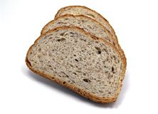Three Slices. Of bread isolated stock images