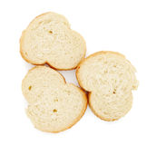 Three slices of baguette Stock Images