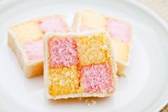 Three slices of Battenburg cake Stock Photo