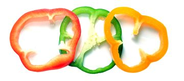 Three slices of bell pepper Royalty Free Stock Photography