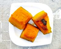 Three slices of boilde pumpkin, top view stock images