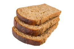 Three slices of bread with raisin. Isolated on the white. Selective focus Royalty Free Stock Photography