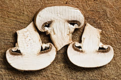 Three slices of champignon. Stock Photography