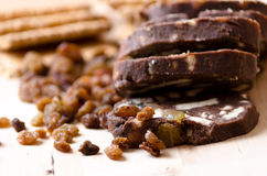 Three slices of chocolate salami Stock Photo