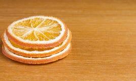 Three slices of dried orange Stock Photography