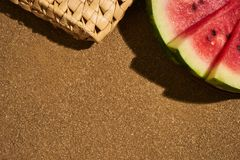 Three slices of fresh red watermelon and a summer bag Royalty Free Stock Image